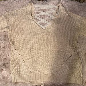 American Rag Cream Sweater with Lace up Back, Sz M